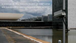 Imagem que mostra a esplanada dos ministérios, o congresso nacional, uma câmera e onde se lÊ A Jugular faz filmes que valorizam a arte e documentam a técnica.